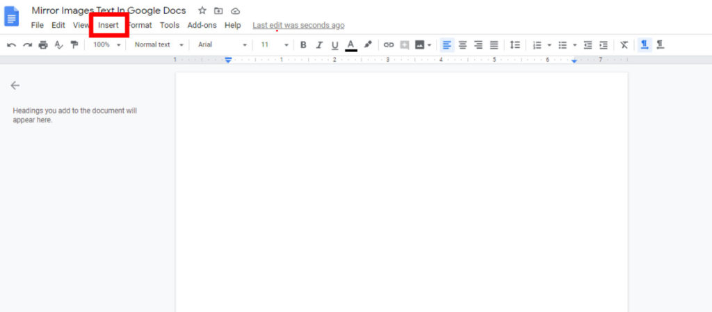 Mirror image text in google docs