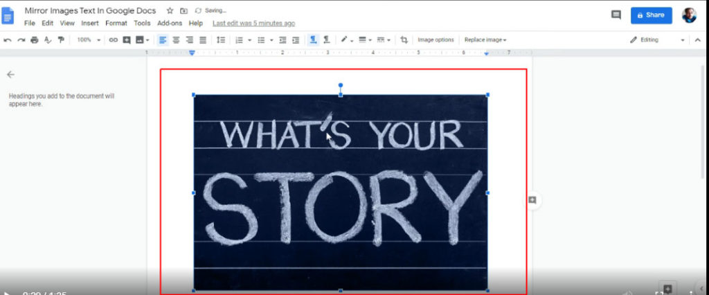 step 4 to flip text in google docs